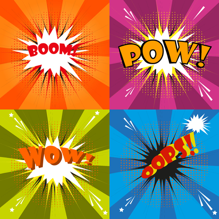 Pow, oops, wow bom comic speech bubble cartoon. Comic sound effect pop art effect communication retro vector. Sketch cloud drawing boom pop art set. Bang explosion style expression surprise exploding. Ilustração