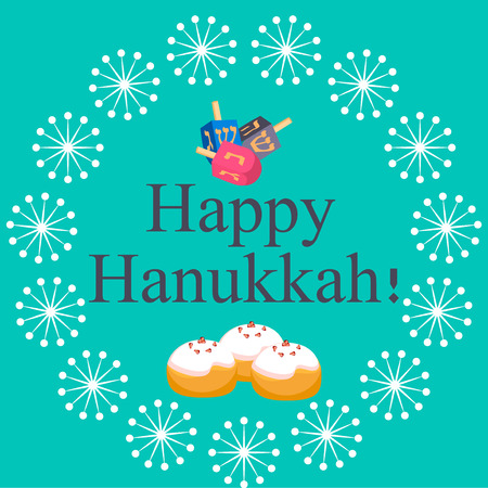 matza: Hanukkah Typography Vector Design - Happy Hanukkah. Jewish holiday. Hanukkah Menorah on blue background. Happy Hanukkah greeting card design vector illustration. Tradition religion jewish holiday.