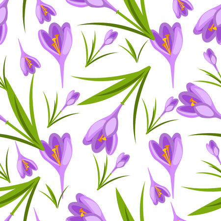 Purple crocuses in the snow vector pattern Illustration