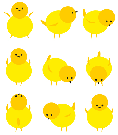 Baby yellow chicken isolated on white icon set.