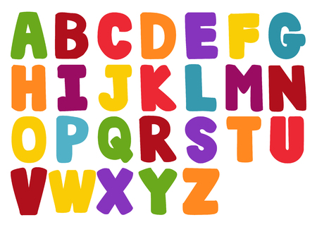 Vector of stylized colorful font and alphabet Illustration