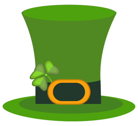Green material leprechaun hat with brown leather band vector illustration.