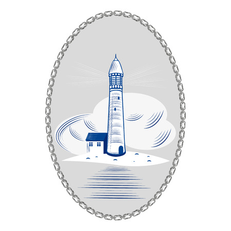 Lighthouse sea ocean light water coast beacon building travel navigation sky vector illustration