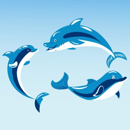 Cute dolphins aquatic marine nature ocean blue mammal sea water wildlife animal vector illustration. Illustration