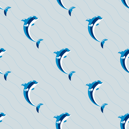 underwater fishes: Cute dolphins aquatic marine nature ocean seamless pattern mammal sea water wildlife animal vector illustration.