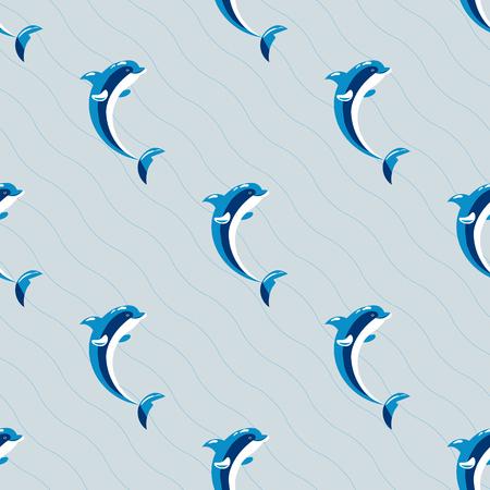 Cute dolphins aquatic marine nature ocean seamless pattern mammal sea water wildlife animal vector illustration.