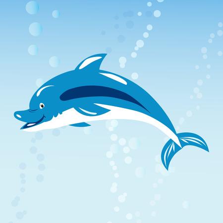 coastal: Cute dolphins aquatic marine nature ocean blue mammal sea water wildlife animal vector illustration. Illustration