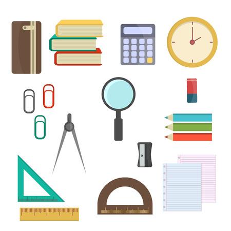 Ilustración vectorial suministros escolares.