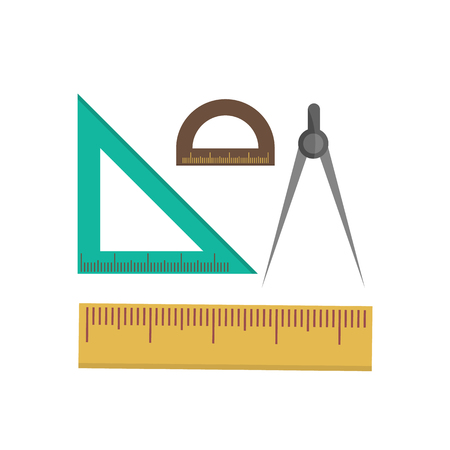 scale: Color school measuring rulers in centimeters and inches vector set. Illustration