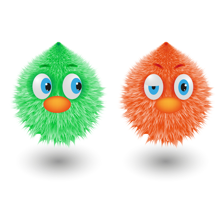 Funny cartoon colorful shaggy balls with eyes fluffy round fur characters vector illustration Illustration
