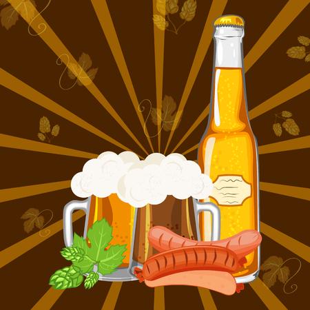 Oktoberfest design background beer festival vector banner bavarian design illustration.