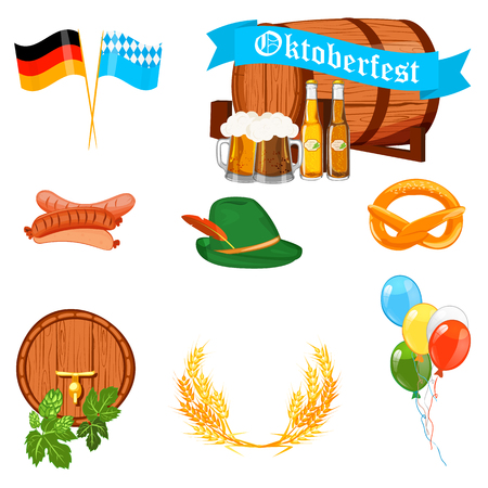 Set of flat design icons for Oktoberfest isolated on white vector.