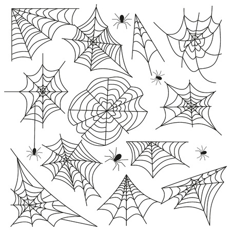 Spinnennetz set Spinnennetz Halloween schwarz Vektor Vektorgrafik