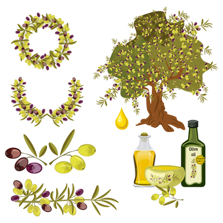 Olive oil and berries green tree set