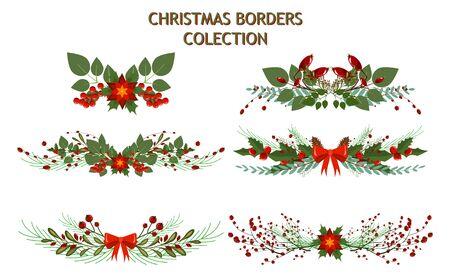 christmas tree branch decoration frame divider holiday garland border xmas vector illustration winter celebration nature - Christmas Tree Branch Decorations