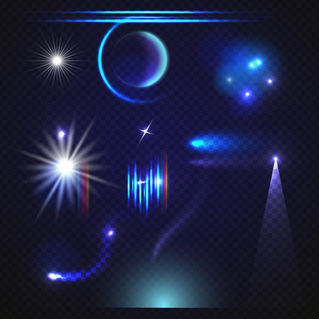 Illustration of Vector Lens Flare Effect. Transparent Vector Glow Lens Flare Ray Effect. Vector EPS10 Bright Sunflare Explosion Template Illustration