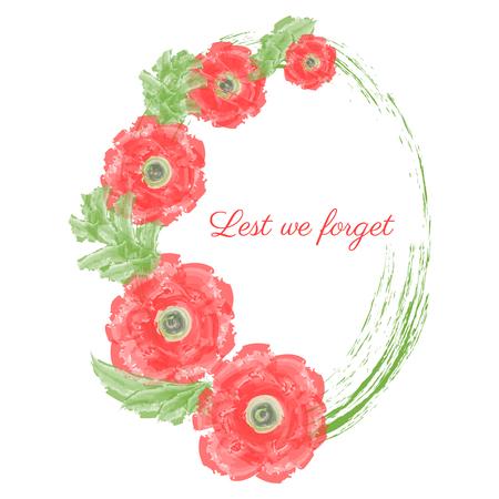 Anzac day Vector illustration of a bright poppy red flower. Ilustração