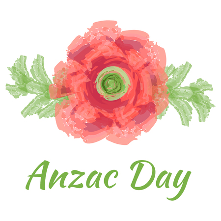 Anzac day Vector illustration of a bright poppy red flower. Remembrance day gallipoli memorial symbol card lest we forget.