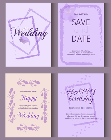 Wedding invitation card suite with crocus flower.