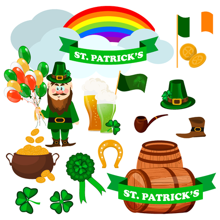St. Patricks day icons vector illustration set Illustration