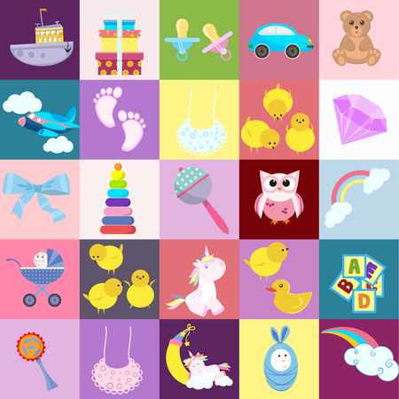 Toy cartoon kids baby. Child game childrens feet play childhood bear colorful vector illustration set kid. Foto de archivo - 99182024