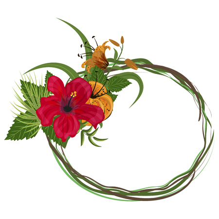 Tropical frame floral summer leaf aloha design.