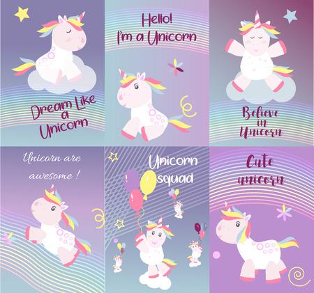 Cute unicorn cards magic baby vector Ilustração