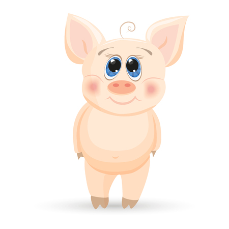 Cute cartoon piglet on a while background. Ilustração
