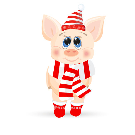Cute cartoon piglet on a while background. Banco de Imagens - 104666574