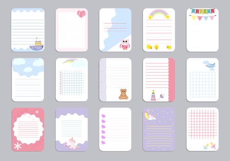 Niños tarjetas de vector de plantilla de página de cuaderno, notas, pegatinas, etiquetas, etiquetas de ilustración de hoja de papel.