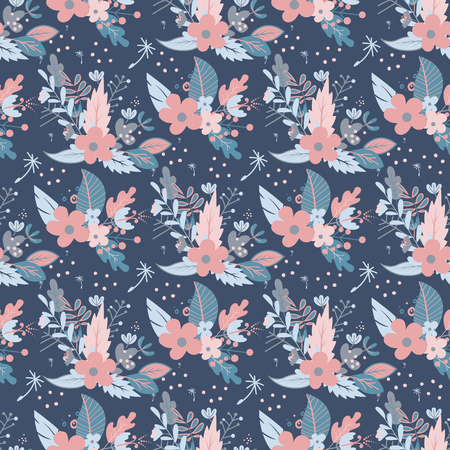 Flowers seamless pattern vector illustration. Sketched flowered print in bright color background. Spring or summer textile wallpaper. Green leaves fabric blossom print.