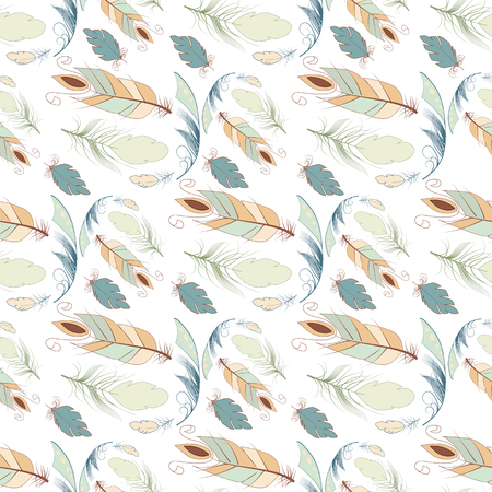 Tribal feather seamless pattern background bird nature wing element vector graphic illustration hand drawn style. Ethnic fluffyplume retro leaf line. Beautiful vintage featherbed decoration.