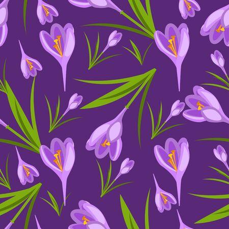 Purple crocuses in the snow pattern