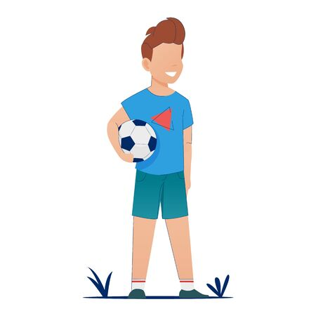 Boy in modern style. Childhood sport. Vector cartoon illustration. Illustration