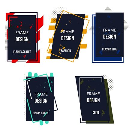 Frames abstract design classic colors of the year. Vector border template. Square blank shape corner. Poster mockup illustration. Social media frame concept.