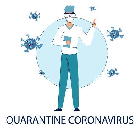 The quarantine due to the outbreak of the coronavirus pandemic. Illustration