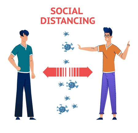Social Distancing Quarantine, people surrounded by viruses.