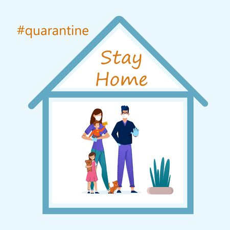 Stay home during the coronavirus epidemic. Staying at home in self quarantine, protection from virus. Illustration
