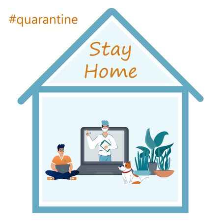 Stay home during the coronavirus epidemic. Staying at home in self quarantine, protection from virus. 向量圖像