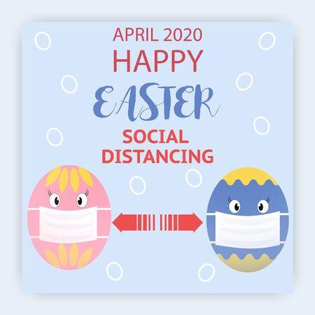 Easter celebration during the coronavirus epidemic. Social Distancing Quarantine.