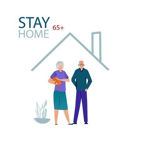 Elderly people threatened coronavirus infection. Stay home during the coronavirus epidemic. Illustration