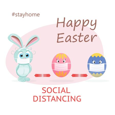 Easter eggs. Cute easter bunny with face mask coronavirus pandemic. Illustration