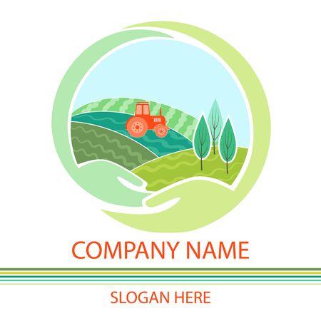 Farm House concept logo. Organic food fresh design.