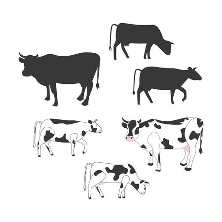 Cow collection silhouette. Cow isolated eating grass set of vector elements.