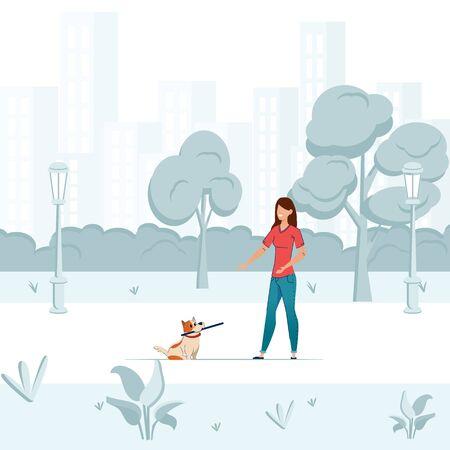 Walking dog vector concept. Professional dog walking person.
