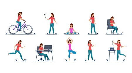 Woman riding bicycle, selfie, yoga, standing, walking, running, working computer, cooking, talking phone. The characters young girl different dynamic poses. Character design Vector illustration