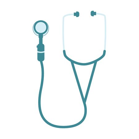 Stethoscope medicine equipment. Diagnostic treatment clinical cardiology tool. 矢量图像