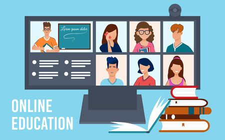 Online education, technology and home concept. Computer with video call people on screen. Video conference, video call. Internet workplace office. Online school study, university learning. Vector. Illustration