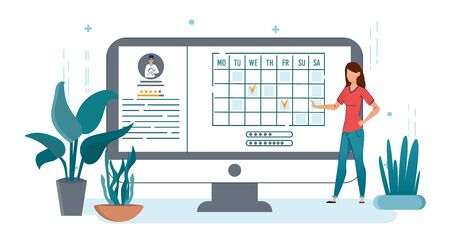 Man Choosing Doctor Online Vector Illustration. Innovative Telemedicine Opportunities. Patient Scheduling Meeting with Therapist Cartoon Character. Client Analyzing Medical Worker Profile