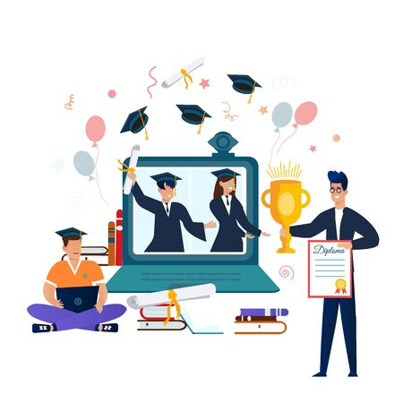 Online Virtual Graduation Video Web Conference Teleconference in Laptop.